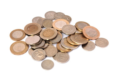 Turkish Lira coins isolated on white