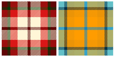 Detailed illustration of plaid textures swatches-group one