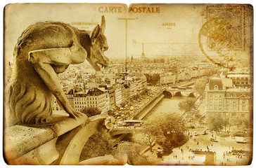 Wall Mural - Parisian vintage card -Notre-dame