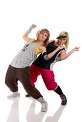 two girls dancing modern dance