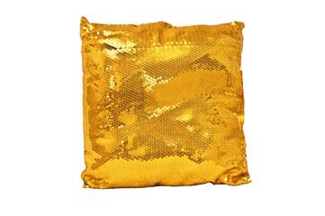 Golden sparkling pillow