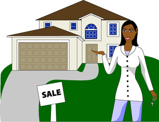 A real estate agent with keys advertising a house for sale.