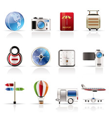 Realistic, Vacation, Holiday and Travel Icons - Vector Icon Set