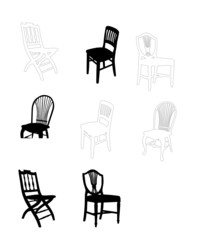 set of antique furniture vector illustration, chairs