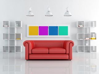 red leather sofa in a white living room - rendering