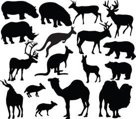 wild animals silhouette - vector