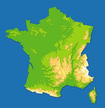 Carte du relief de la france = France map