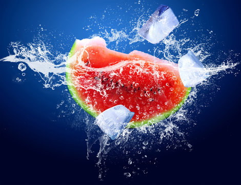 Water drops around watermelon and ice