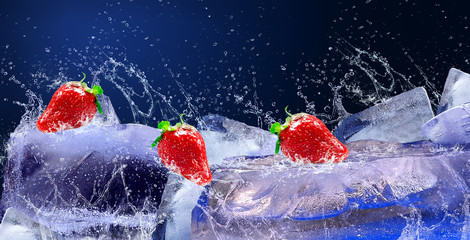 Water drops around red strawberry on the ice