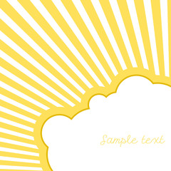 Cloud with rays and place for text. Vector