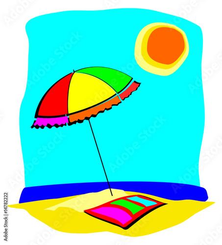 Spiaggia con ombrellone immagini e vettoriali royalty for Disegni da camera da spiaggia
