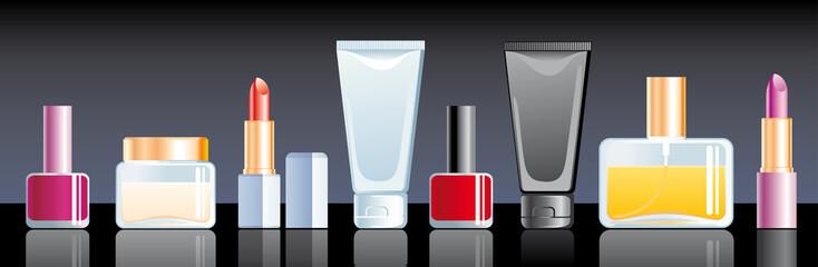 Cream, perfume, lipstick and nail polish