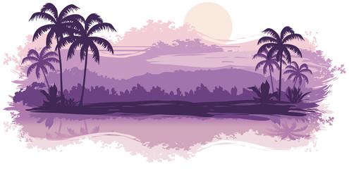Tropical landscape in lilac tones