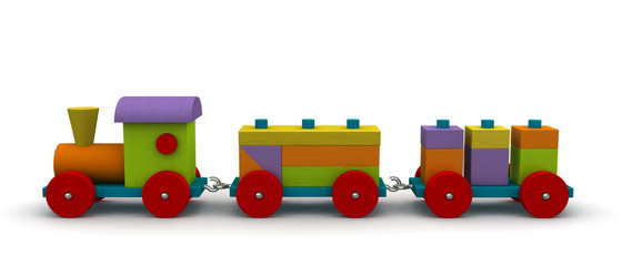 Wooden train side view
