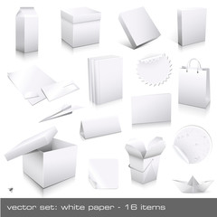 vector set: white paper - ci and packaging dummies
