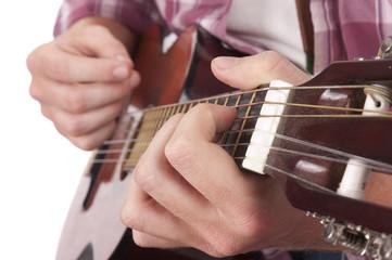 closeup of guitarist playing