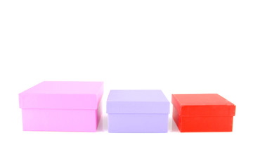 Colored boxes isolated on white background