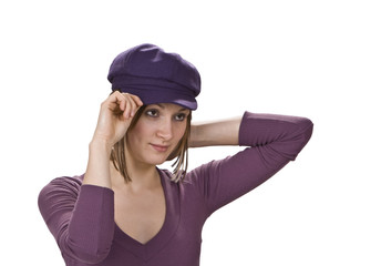 Woman in a violet hat