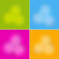 Set of four color versions of abstract halftone circles.