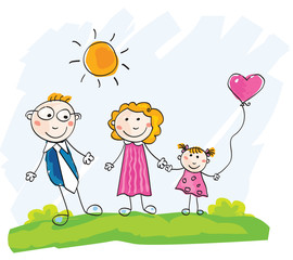 Doodle family. Vector Illustration of mother, father and child.