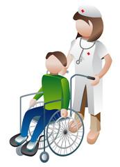 Handicapé avec infirmière