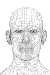 3D redering of a face of a men
