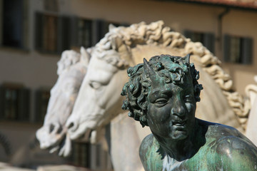 Sculpture detail from Neptune Fountain in Florence, Italy