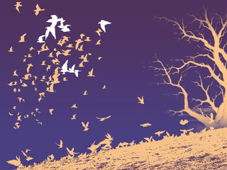 Birds covey and tree on the dark background