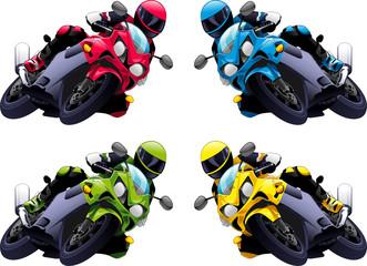 Keuken foto achterwand Motorfiets Set of Vector motorbikes