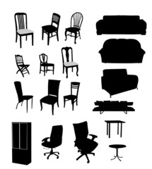 Silhouettes of furniture vector illustration