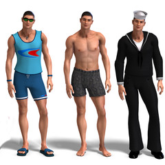 three different outfits: Surfer, Swimmer, Sailor.