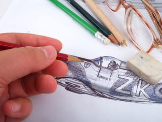 Artist makes a drawing