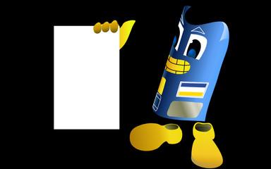 Carte de crédit tendant un panneau blanc