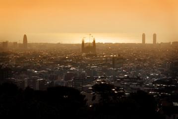 cityscape Barcelona at sunrise