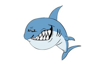 Shark character image. Isolated on white.