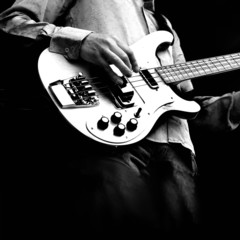 guitar on square background in black and white