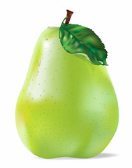 Vector Green Pear With Drops isolated On White