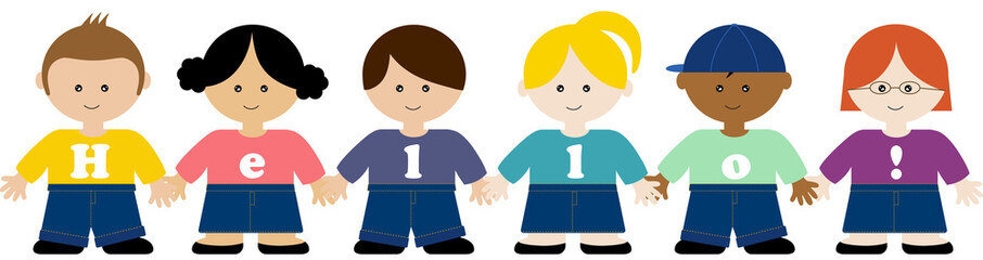 "Children holding hands wearing ""Hello!"" T-shirt"