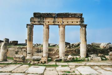 Ruins of ancient roman city Hierapolis. Pamukkale, Turkey