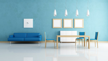 blue and white dining room-rendering