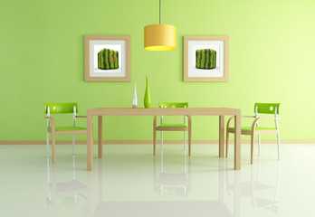 contemporary green dining room -rendering
