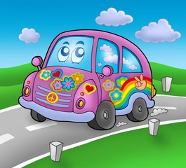 Printed roller blinds Cars Hippie car on road