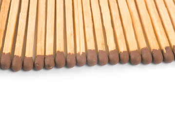 closeup wooden matchsticks with copyspace isolated