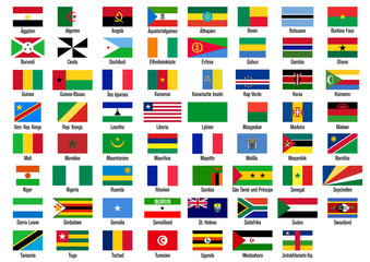 Länderflaggen Afrika mit Ländernamen