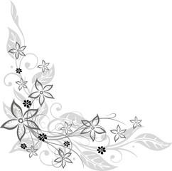 border, filigrane Ranke mit Blättern und Blumen