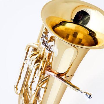Brass Tuba Euphonium Isolated  on White