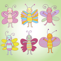 Cartoon butterflys