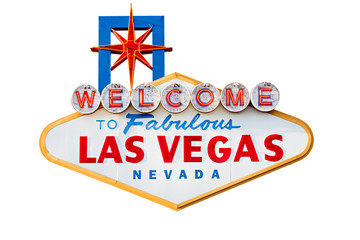 Foto auf AluDibond Las Vegas las vegas sign isolated on white - welcome to las vegas