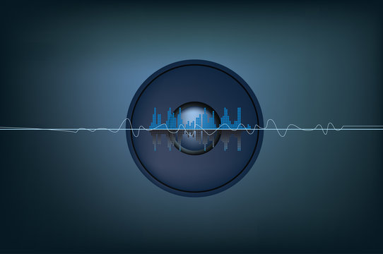 illustration of soundwaves and a speaker system