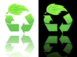 symbols of ecology and recycling on a white or black background